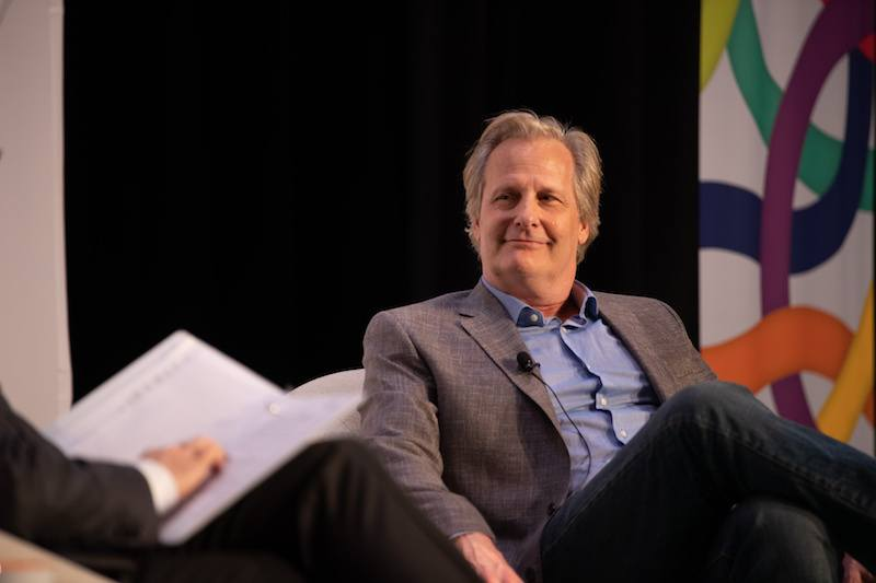 MONTCLAIR, NJ - MAY 05: Stephen Colbert and Actor Jeff Daniels speak at the Montclair Film Festival on May 5, 2018 in Montclair, NJ. (Photo by Dave Kotinsky/Getty Images for Montclair Film Festival)