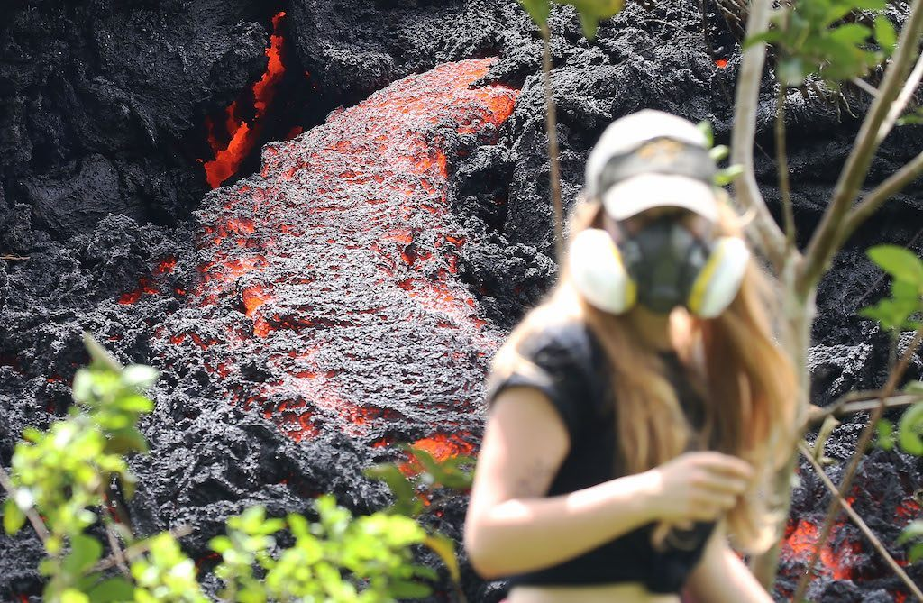 Lava flows at a new fissure in the aftermath of eruptions from the Kilauea volcano