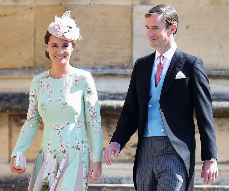 Pippa Middleton and James Matthews arrive for the wedding ceremony of Britain's Prince Harry, Duke of Sussex and US actress Meghan Markle at St George's Chapel, Windsor Castle, in Windsor, on May 19, 2018. (Photo by Chris Jackson / POOL / AFP) (Photo credit should read CHRIS JACKSON/AFP/Getty Images)