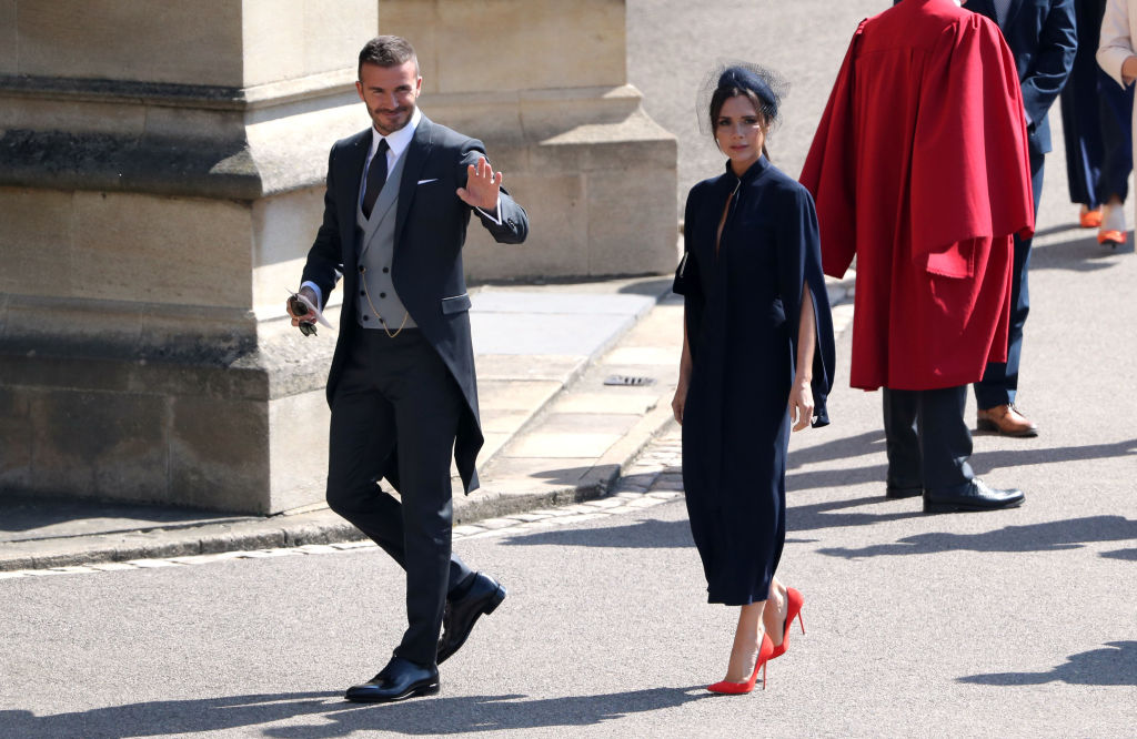 David Beckham and Victoria Beckham arrive for the wedding ceremony of Britain's Prince Harry and US actress Meghan Markle at St George's Chapel, Windsor Castle on May 19, 2018 in Windsor, England.