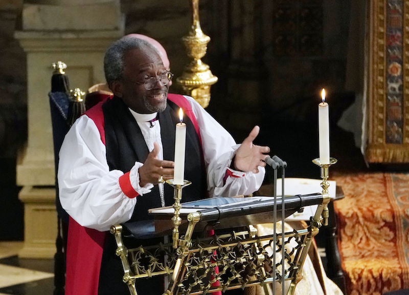 Bishop Michael Bruce Curry gives a reading during the wedding ceremony of Britain's Prince Harry, Duke of Sussex and US actress Meghan Markle in St George's Chapel, Windsor Castle, in Windsor, on May 19, 2018. (Photo by Owen Humphreys / POOL / AFP) (Photo credit should read OWEN HUMPHREYS/AFP/Getty Images)