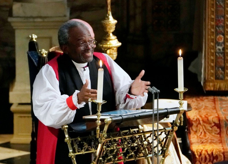 Rev Bishop Michael Curry, primate of the Episcopal Church, gives an address during the wedding of Prince Harry and Meghan Markle in St George's Chapel at Windsor Castle