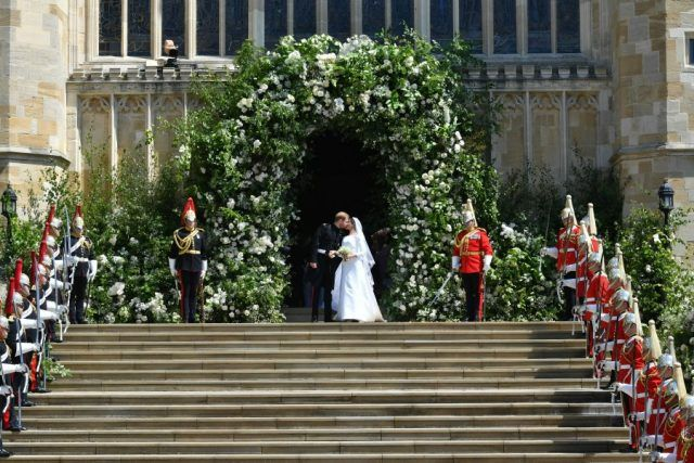 Prince Harry and Meghan Markle on chapel steps