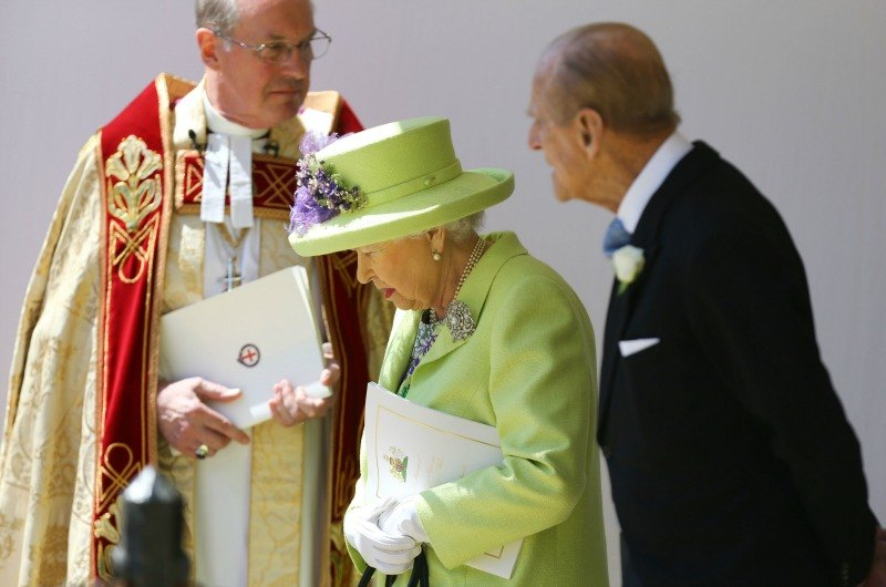 Queen Elizabeth II and Prince Philip leaving chapel