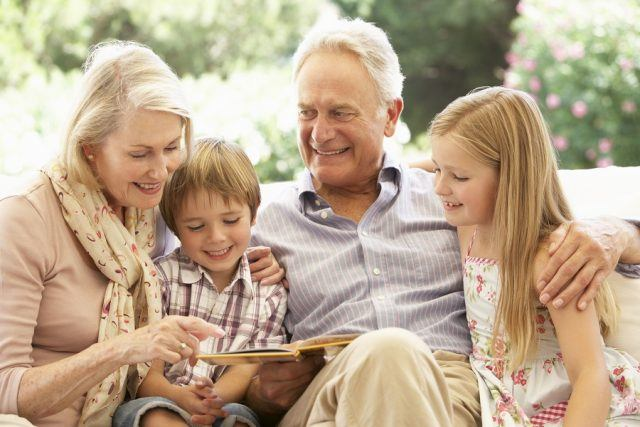 Grand parents with grand children