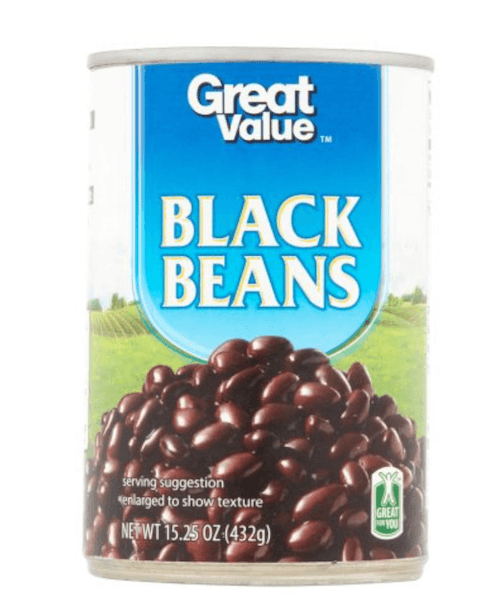 A can of Great Value black beans.