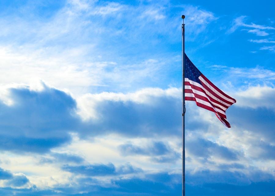 half-staff American flag