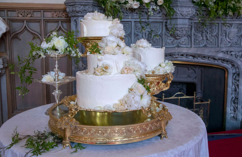 The wedding cake by Claire Ptak of London-based bakery Violet Cakes in Windsor Castle