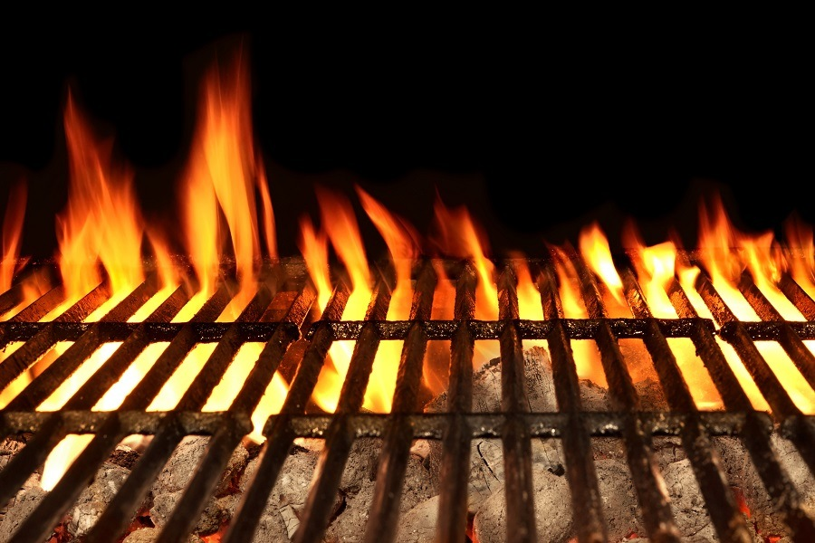 High flame in grill
