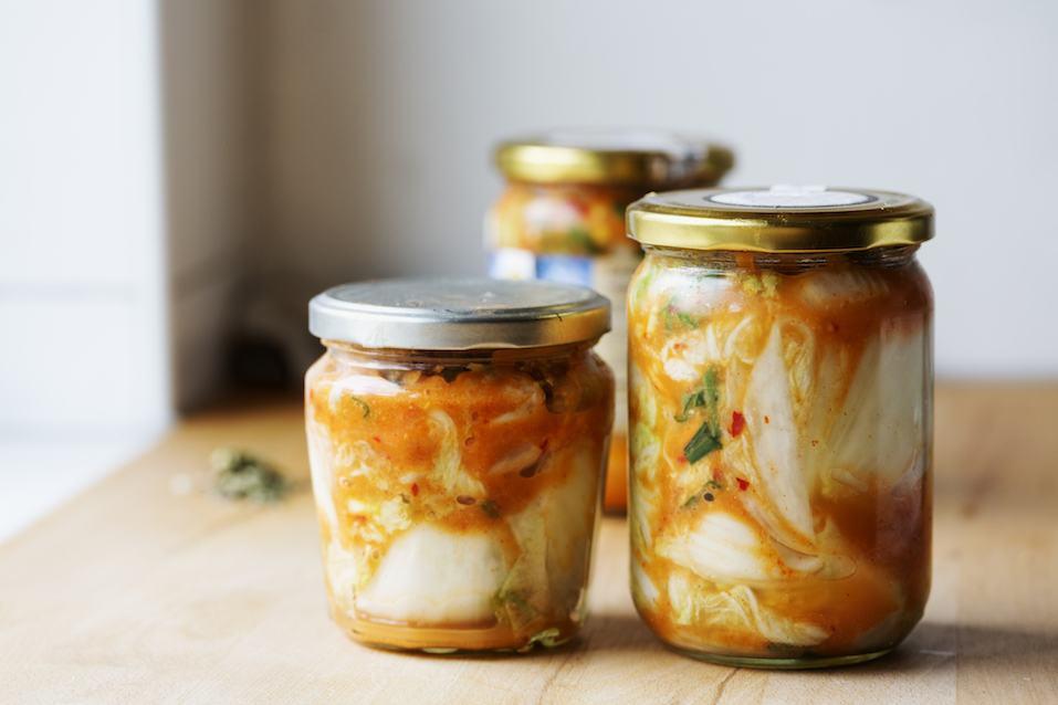 Kimchi in glass jar