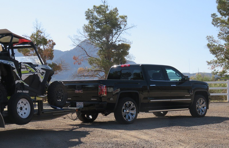 View of '18 Sierra Denali with trailer