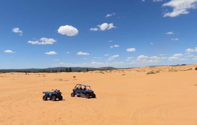 Shot of Polaris RZRs on Utah's Coral Pink Sand Dunes