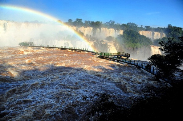 View of a damaged bridge at the Iguazu Falls