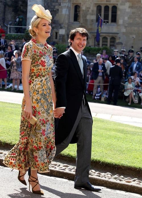 James and Sofia Blunt walking together.