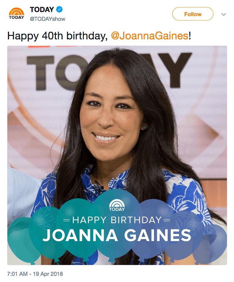 Joanna Gaines birthday tweet