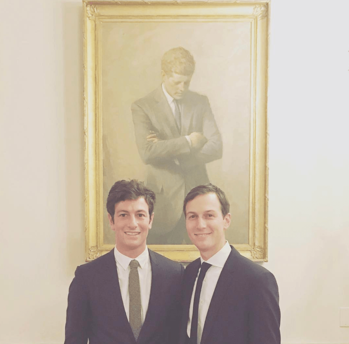 Josh and Jared Kushner in front of JFK portrait