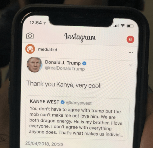 Kanye West's tweet and Donald Trump's response.