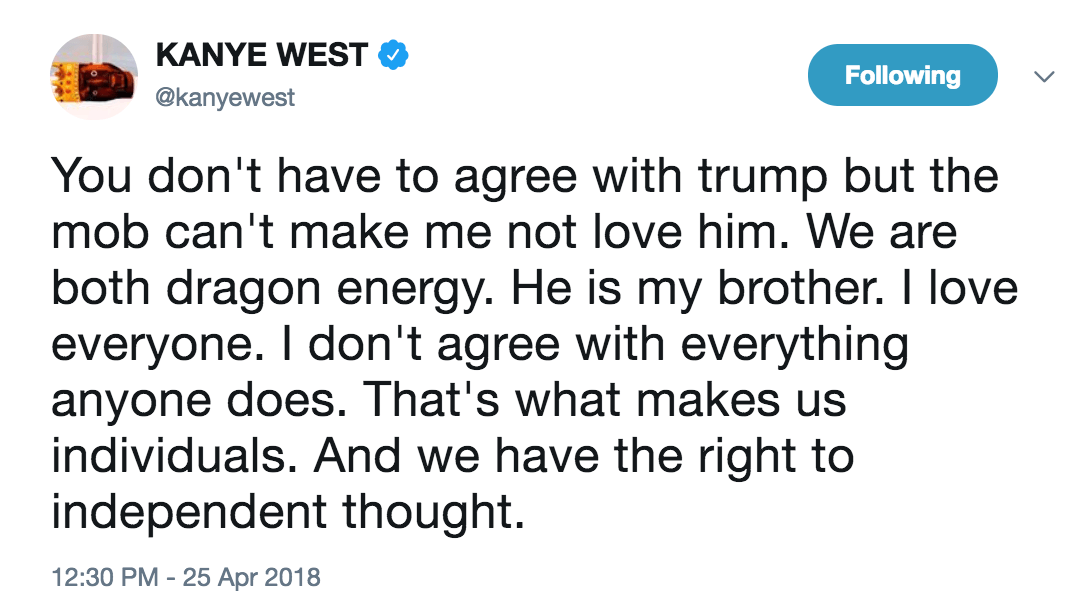 Kanye dragon energy tweet trump