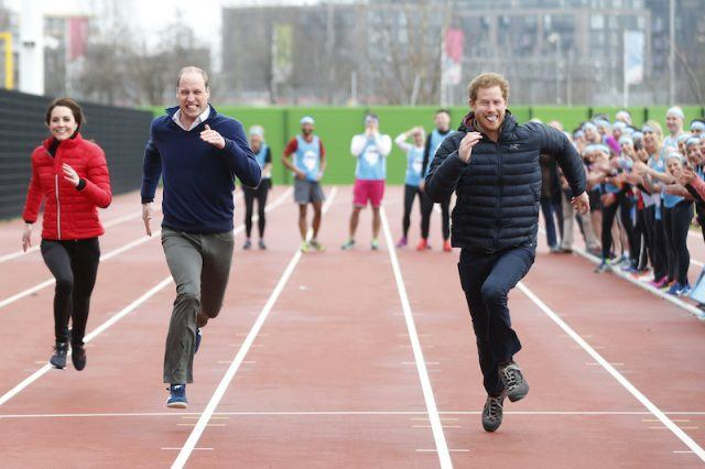 Kate Middleton, Prince William and Prince Harry running a race.