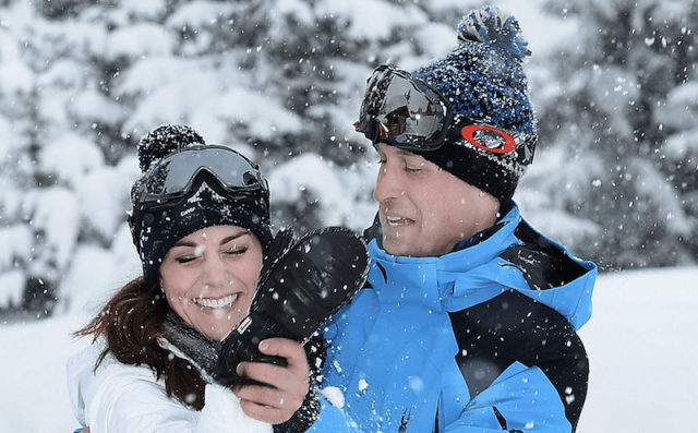 Kate Middleton and Prince William in the snow.