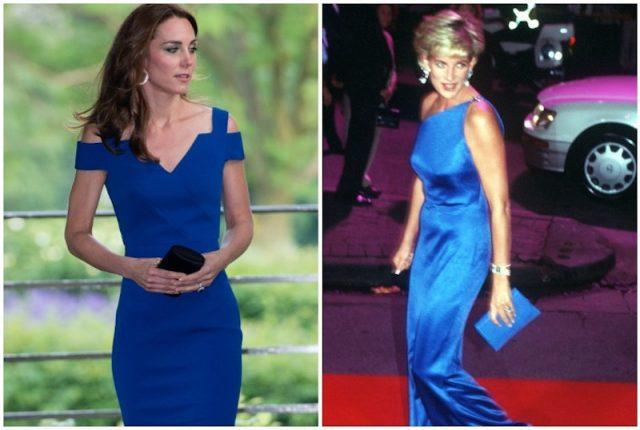 Kate Middleton and Princess Diana wearing blue collage.
