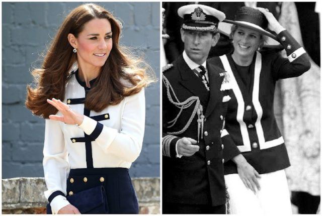 Princess Diana and Kate Middleton wearing military-inspired outfits.