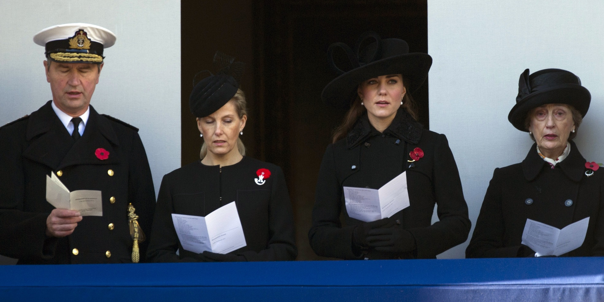 Britain's Catherine, Duchess of Cambridge (2nd R), Sophie, Countess of Wessex (2nd L), Vice Admiral Timothy Laurence (L), and Lady in Waiting Lady Susan Hussey (R)
