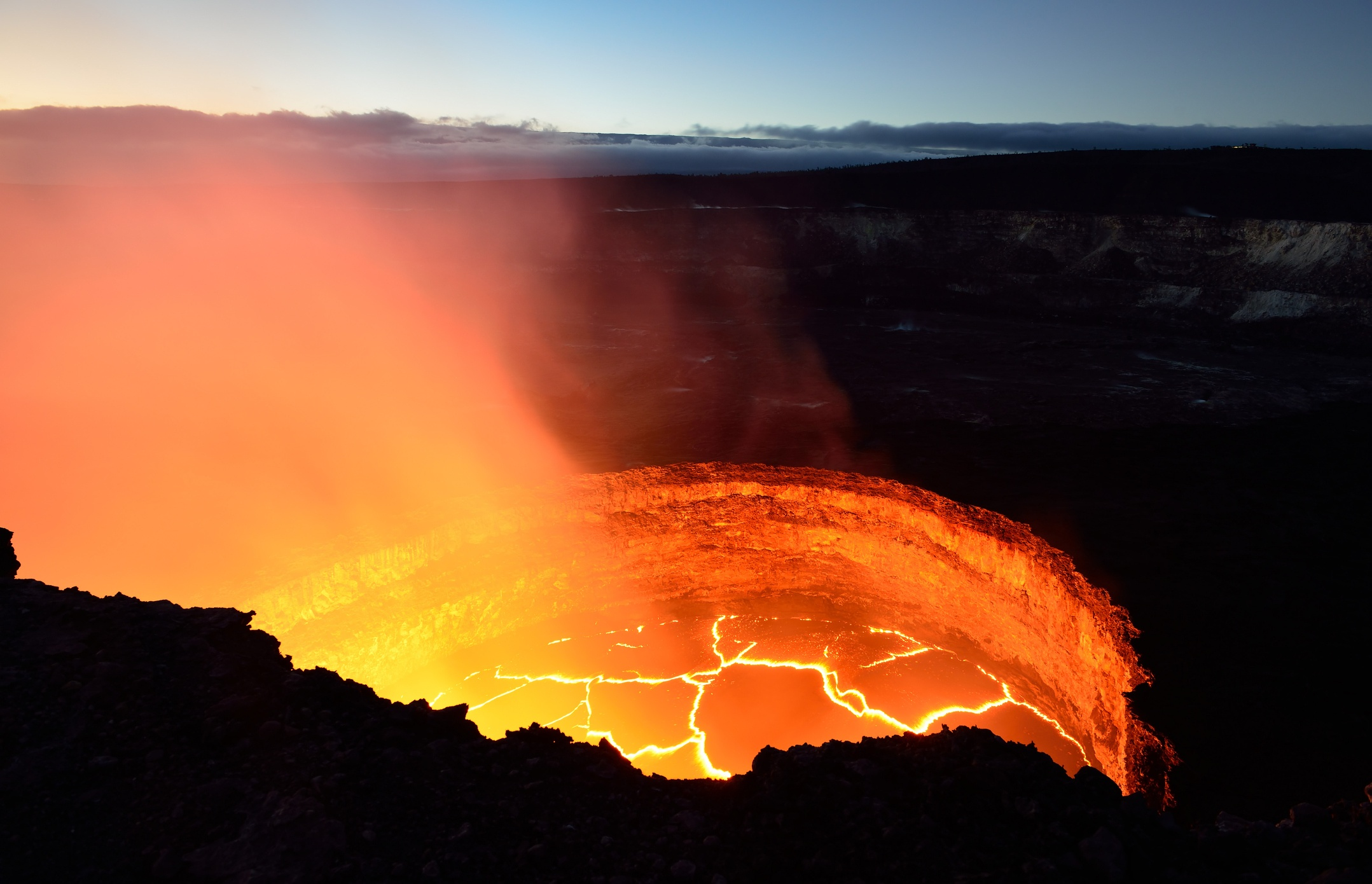 Kilauea volcano inside view of the active volcano with lava flow in Volcano National Park, Big Island of Hawaii