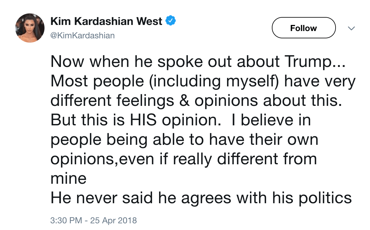 Kim Kardashian on kanye approving trump