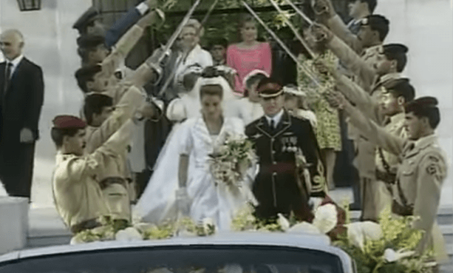 The wedding day of King Abdullah bin Al-Hussein and Queen Rania.
