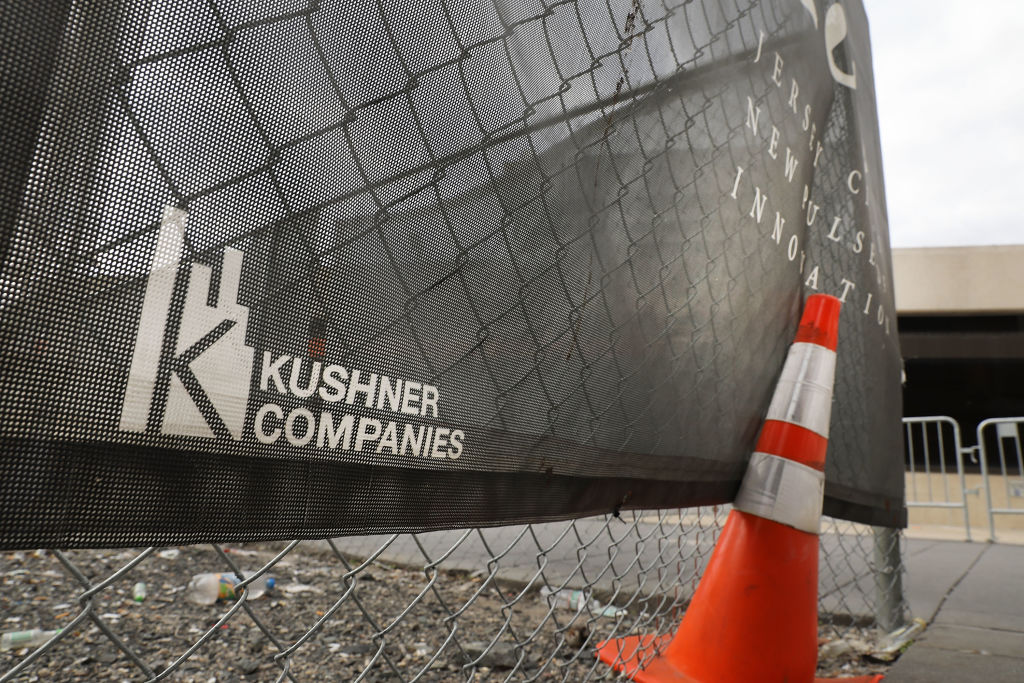 The Kushner family name is displayed on advertising at the One Journal Square project in Jersey City