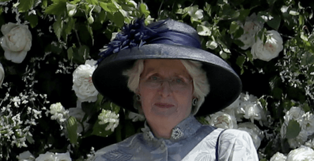 Lady Jane Fellowes standing in front of the church at the royal wedding.