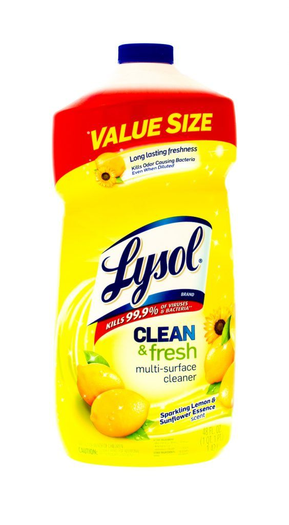 Bottle of Lysol clean & fresh cleaner.