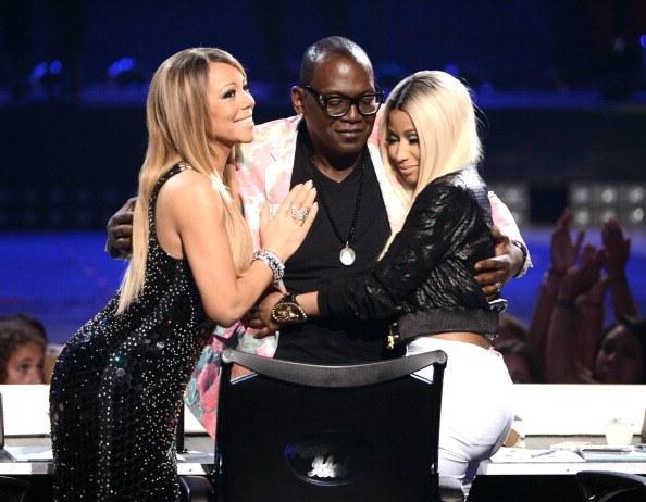 "American Idol judges Mariah Carey, Randy Jackson and Nicki Minaj are seen onstage during Fox's ""American Idol 2013"" Finale Results Show"