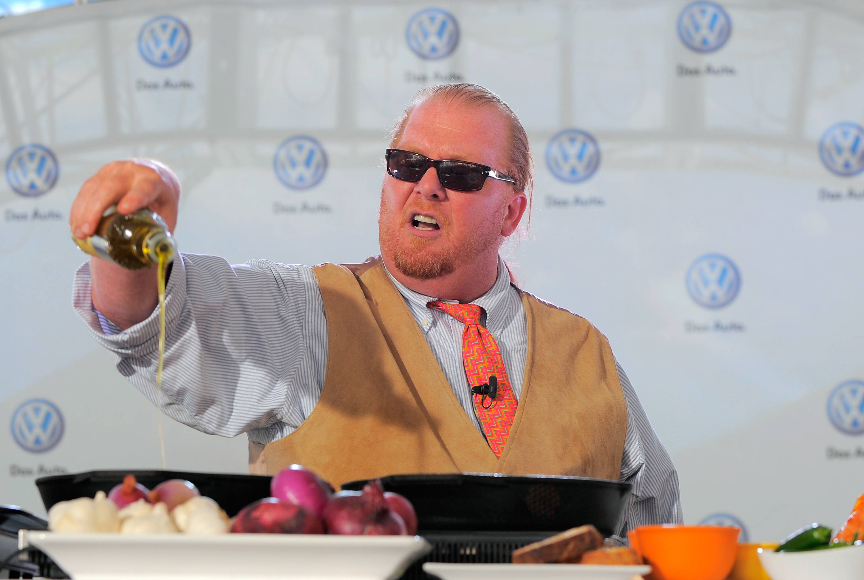 Chef Mario Batali prepares several dishes for the crowd