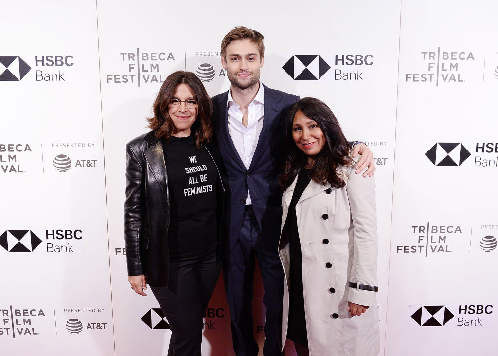 "Amy Baer, Douglas Booth and Haifaa al-Mansour attend the screening of ""Mary Shelley"""