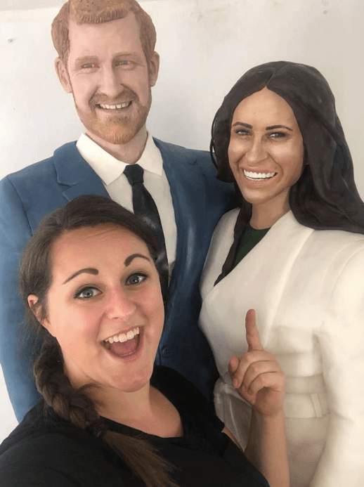A life-size sponge cake of Prince Harry and Meghan Markle by Lara Mason