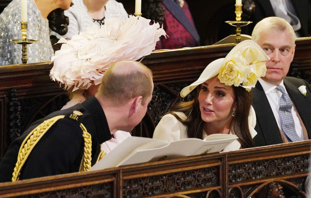 Prince William, Duke of Cambridge, Camilla, Duchess of Cornwall, Catherine, Duchess of Cambridge and Prince Andrew, Duke of York attend the wedding of Prince Harry to Meghan Markle