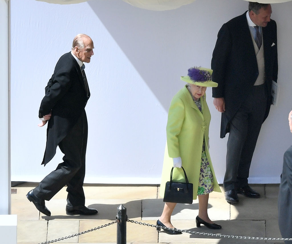 Queen Elizabeth II and the Prince Philip, Duke of Edinburgh arrive for the wedding ceremony of Britain's Prince Harry and US actress Meghan Markle
