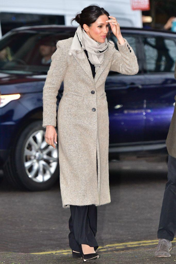 Fiancée of Britain's Prince Harry, US actress Meghan Markle arrives to visit Reprezent 107.3FM