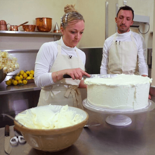 Claire Ptak working on the royal wedding cake