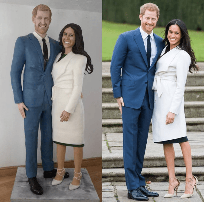 Life-size Prince Harry and Meghan Markle Cake next to their famous portrait