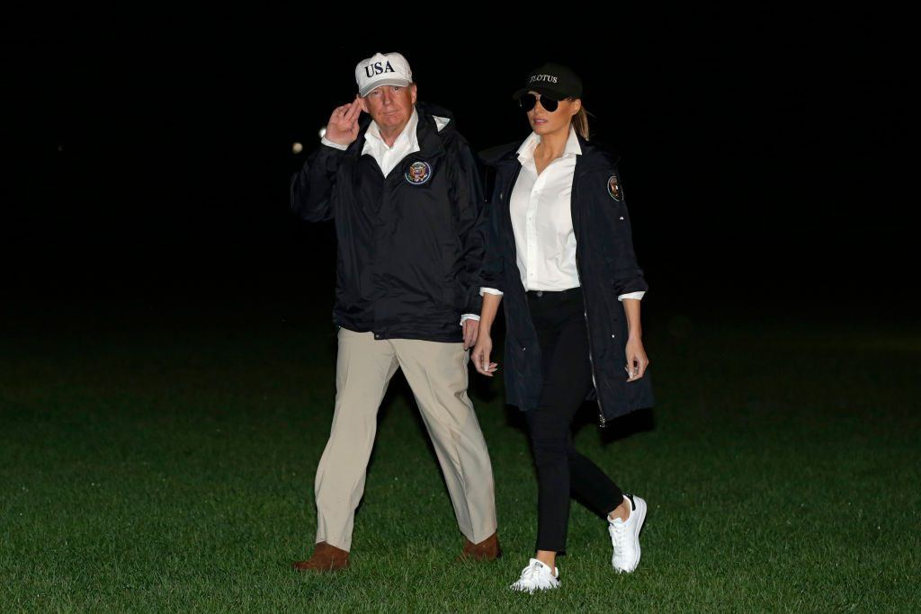 Donald Trump and First Lady Melania Trump return to the White House in Washington, DC, from Texas after viewing the damage caused by Hurricane Harvey