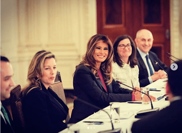 Melania having a meeting on cyber safety