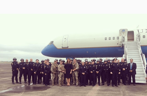 Melania Trump in front of Air Force One