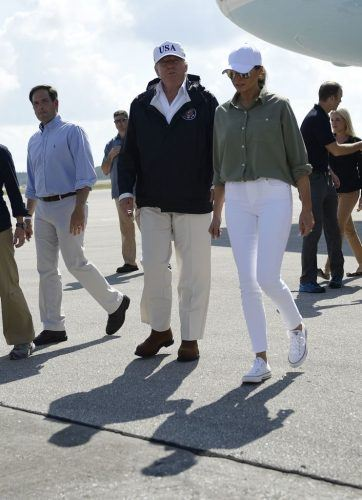 US President Donald Trump and First Lady Melania Trump in Florida after hurricane.