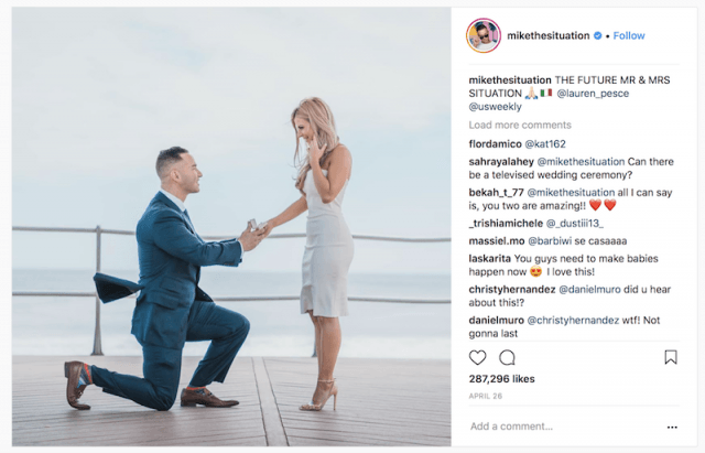 Mike 'The Situation' Sorrentino and Lauren Elizabeth during their proposal.