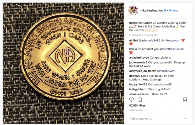 Mike Sorrentino's Instagram post about sobriety.