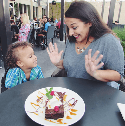 Nikki Stephens and her son at a restaurant.
