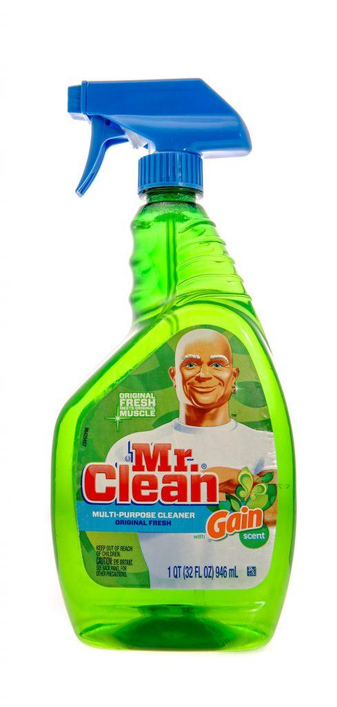 Spray bottle of Mr. Clean all-purpose cleaner